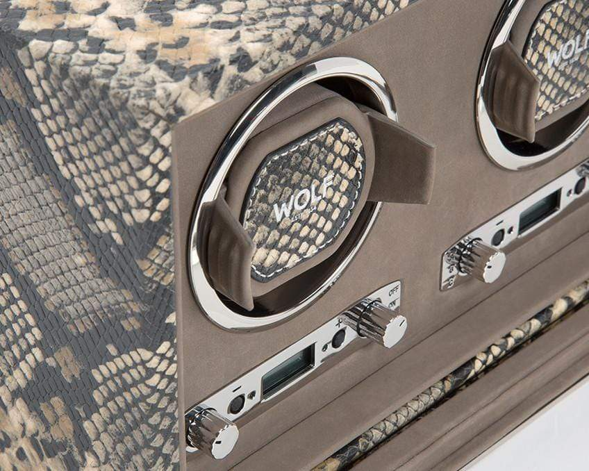 WOLF 461922 Exotic Triple Watch Winder Tan Python-Embossed Leather