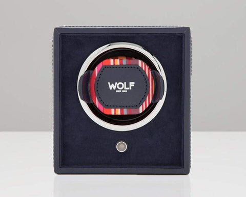 WOLF 462217 Howard Stripe Single Cub Watch Winder Navy