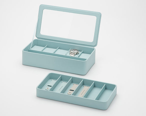 WOLF 463124 Aqua 6 Piece Watch Box With Strap Tray for Apple Watch