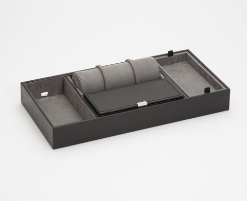 WOLF 465103 Howard Valet Tray Black Pebble Leather