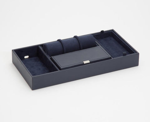 WOLF 465117 Howard Valet Tray Navy Pebble Leather