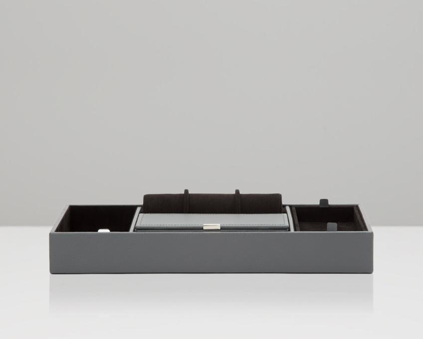 WOLF 465165 Howard Valet Tray Grey Pebble Leather