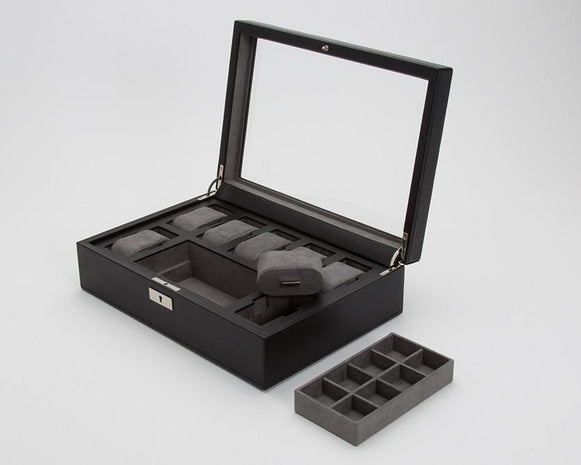WOLF 465203 Howard Black Watch Box + Cufflink Tray Gray Ultrasuede Interior