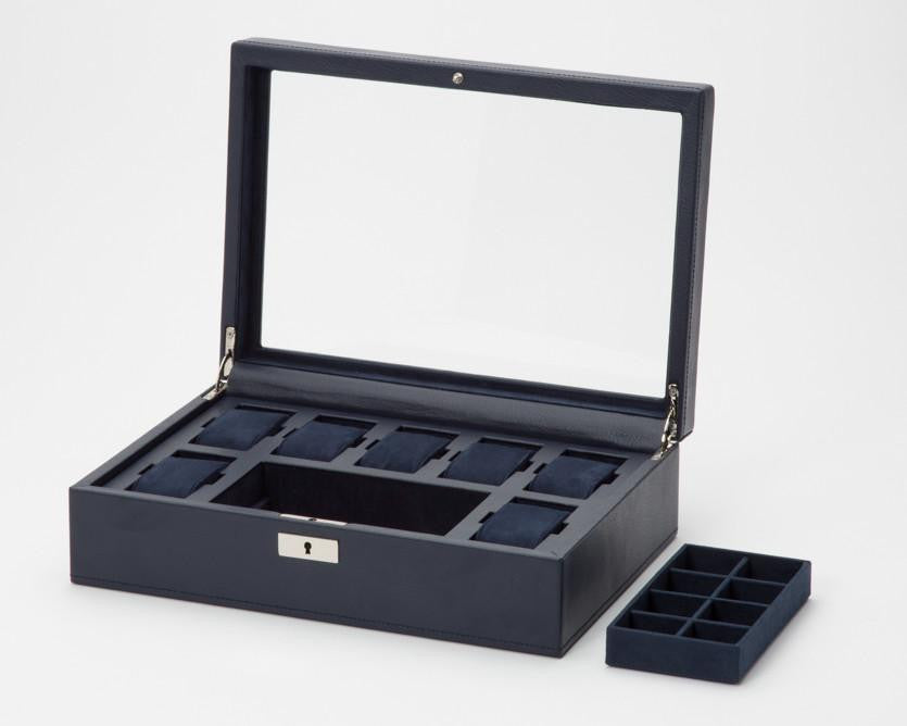 WOLF 465217 Howard Navy Watch Box + Cufflink Tray