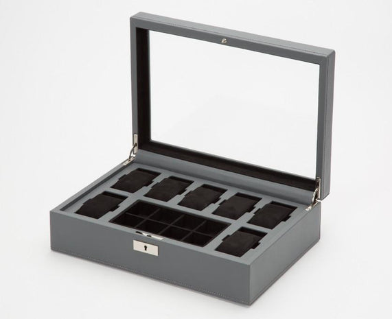 WOLF 465265 Howard Grey Watch Box + Cufflink Tray Black Ultrasuede Interior