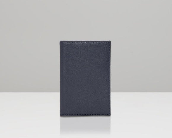WOLF Howard Passport Holder Navy Leather 466517