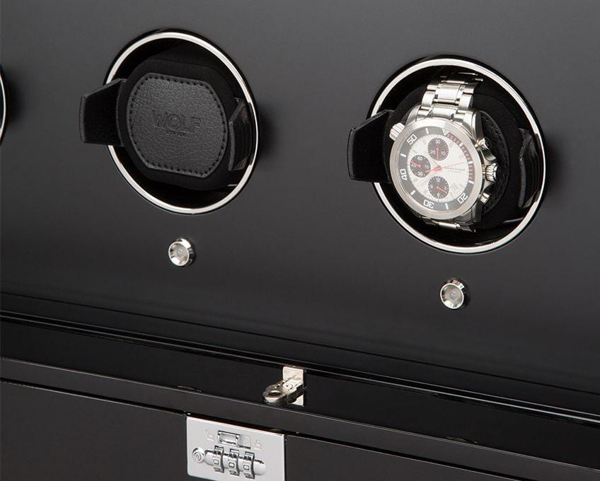 WOLF 1834 Regent 32 Piece Cabinet Watch Winder Piano Black 468270