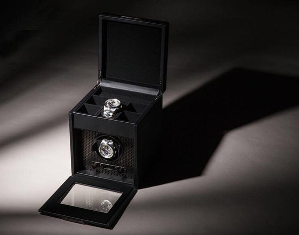 WOLF Axis Black Powder Coat Metal Plating Single Watch Winder With Storage 469203
