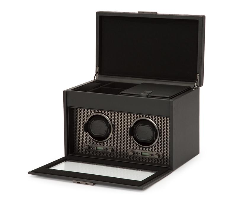WOLF Axis Black Powder Coat Metal Plated Double Watch Winder With Storage 469303