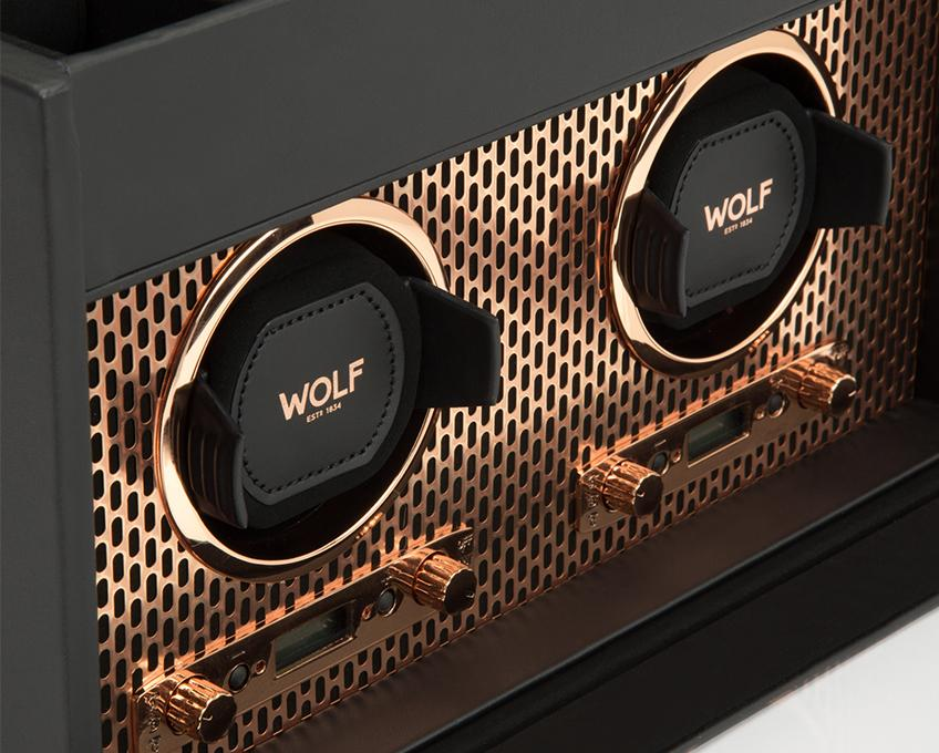 WOLF Copper Metal Plated Double Watch Winder With Storage 469316