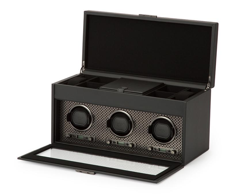 WOLF Axis Black Powder Coat Metal Plated Triple Watch Winder With Storage 469403