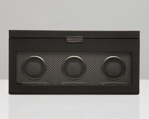 WOLF Black Powder Coat Metal Plated Triple Watch Winder With Storage 469403