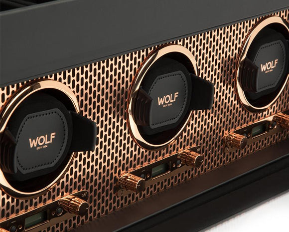 WOLF Copper Metal Plated Triple Watch Winder With Storage 469416