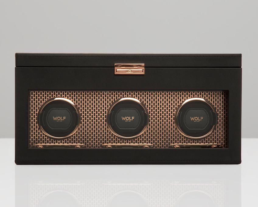 WOLF Axis Copper Metal Plated Triple Watch Winder With Storage 469416