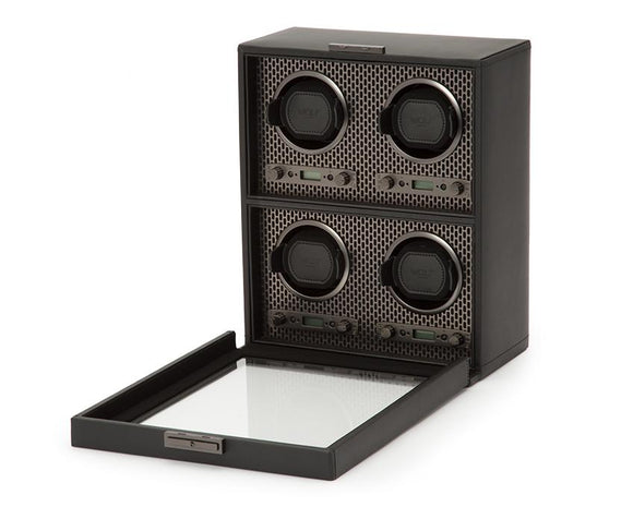 WOLF Axis Black Powder Coat Metal Plated 4 Piece Watch Winder 469503