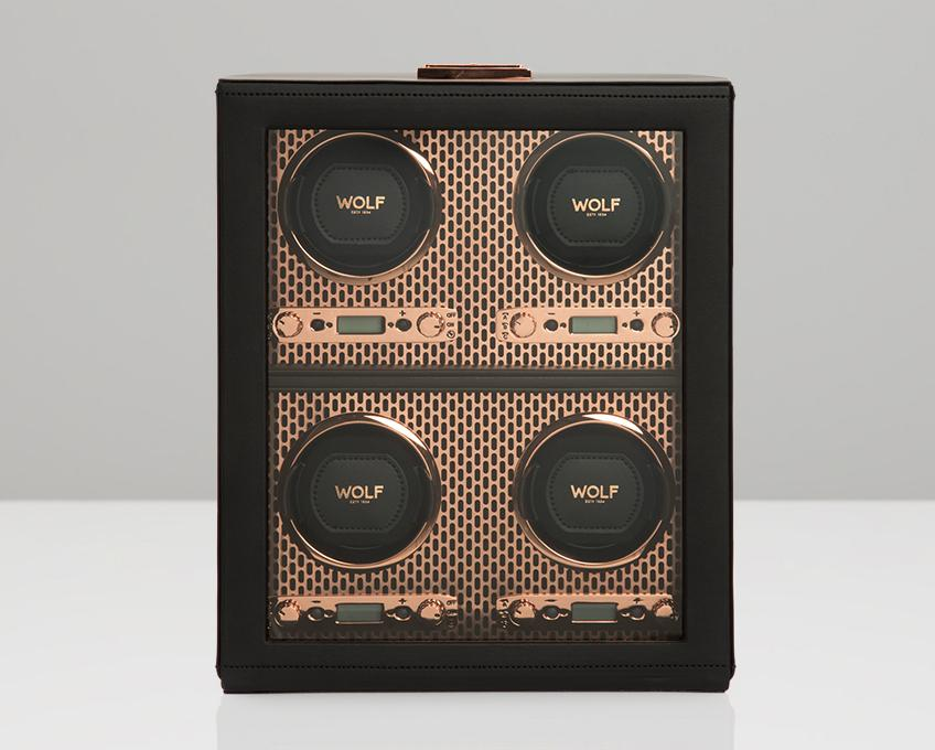 WOLF Axis Copper Metal Plated 4 Piece Watch Winder 469516