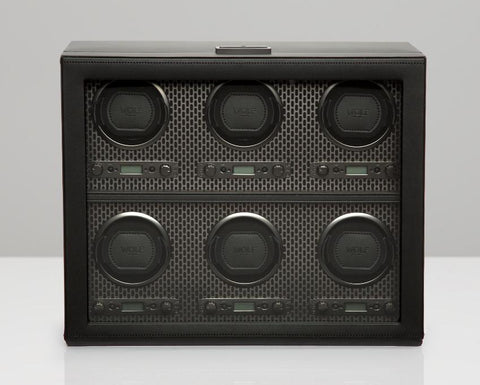 WOLF Axis Black Powder Coat Plated 6 Piece Watch Winder 469603