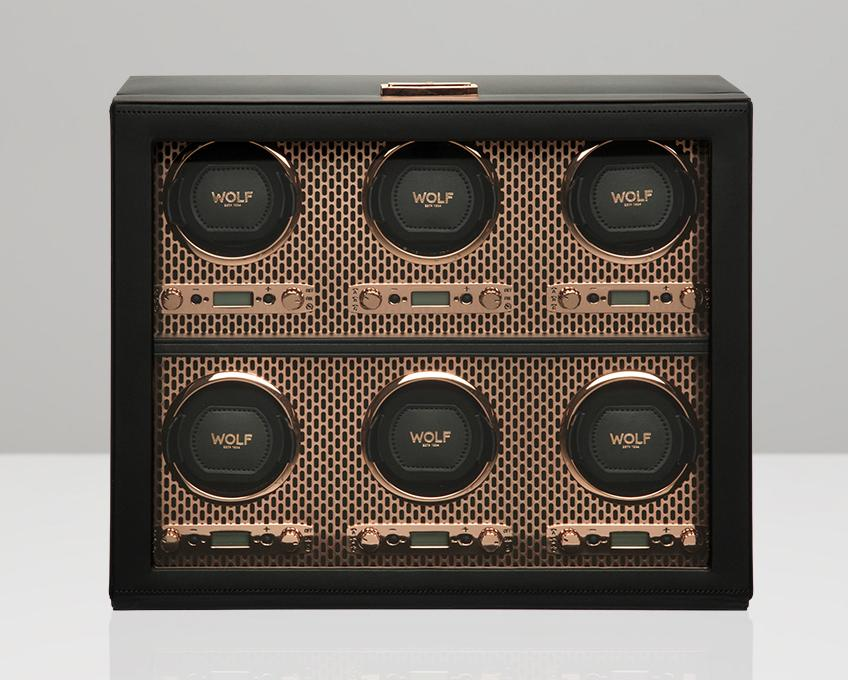 WOLF Copper Metal Plated 6 Piece Watch Winder 469616