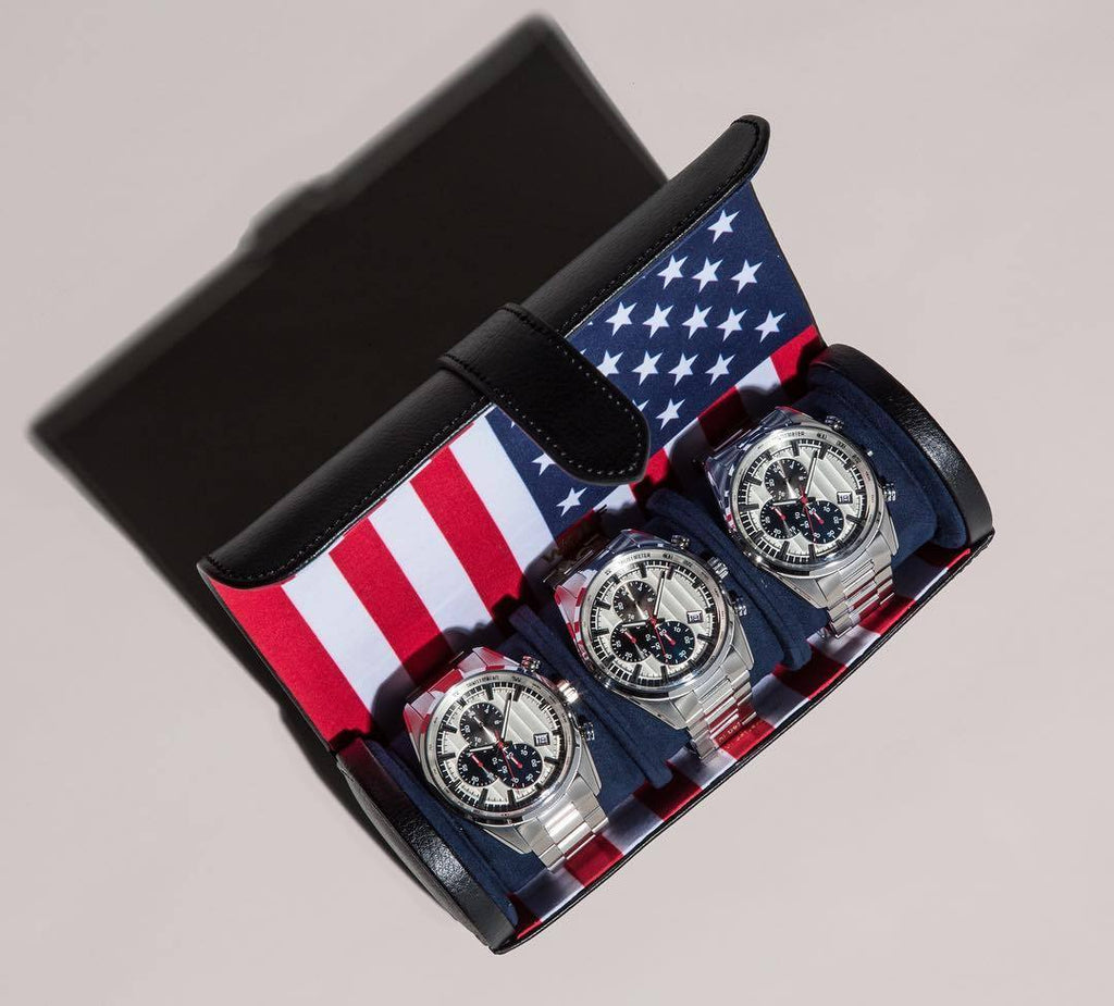WOLF Navigator American (USA) Flag Triple Watch Roll 470904