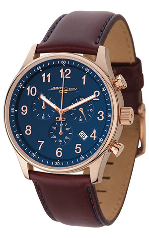 PRE-SALE Jorg Gray JG5500-21 Men's Watch Chronograph Blue Dial With Dark Red Leather Strap
