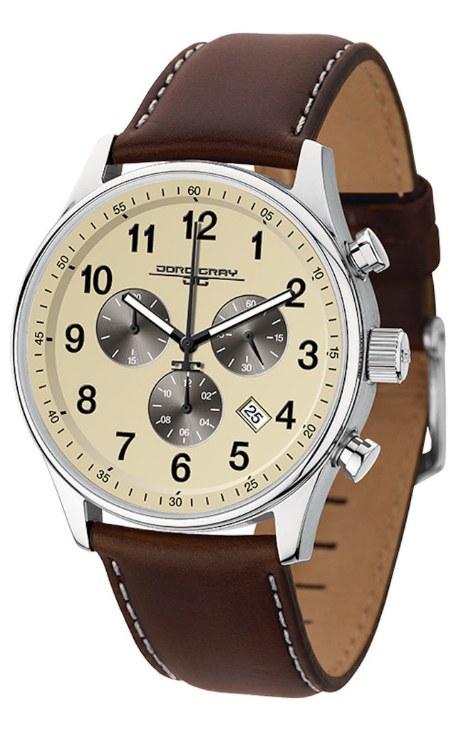 Jorg Gray JG5500-22 Men's Watch Chronograph Cream Dial With Espresso Brown Leather Strap