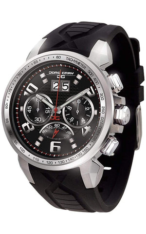 Jorg Gray JG5600-21 Men's Watch Chronograph Black Dial With Integrated Black Silicone Strap