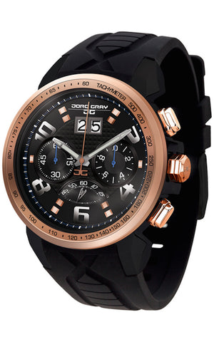 PRE-SALE Jorg Gray JG5600-22 Men's Watch Chronograph Rose Gold Case With Integrated Black Silicone Strap