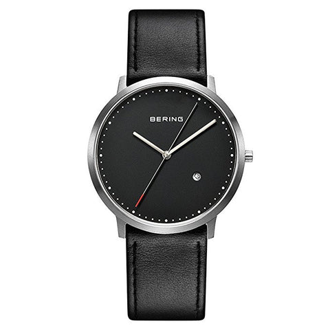 BERING 11139-402 Classic Black Unisex Watch Sapphire Crystal Date Brushed Silver Case