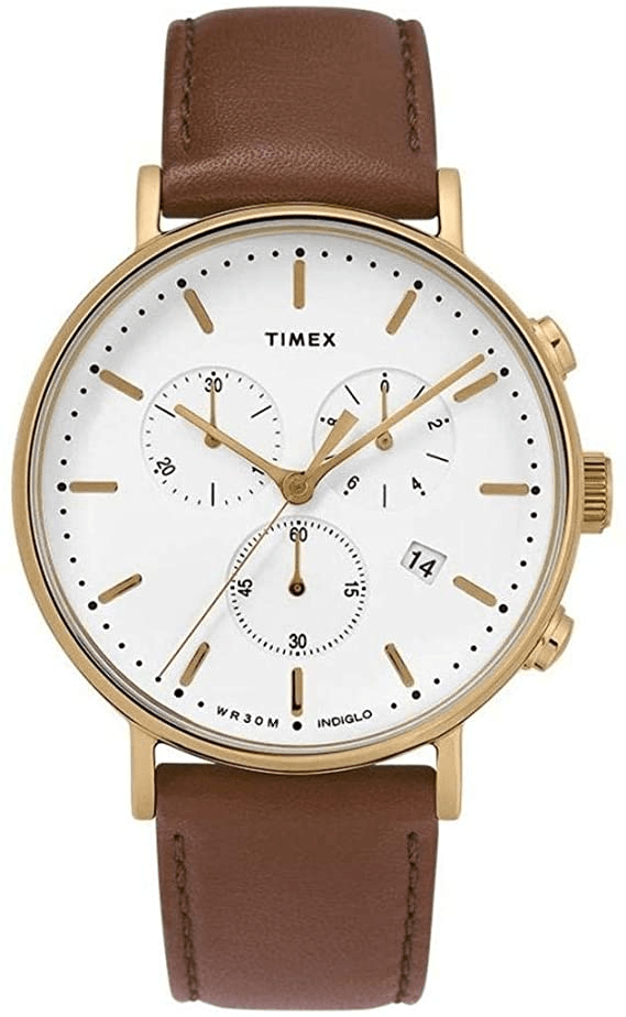 Timex Fairfield 41mm Chronograph White Dial Gold Case Men's Watch TW2T32300