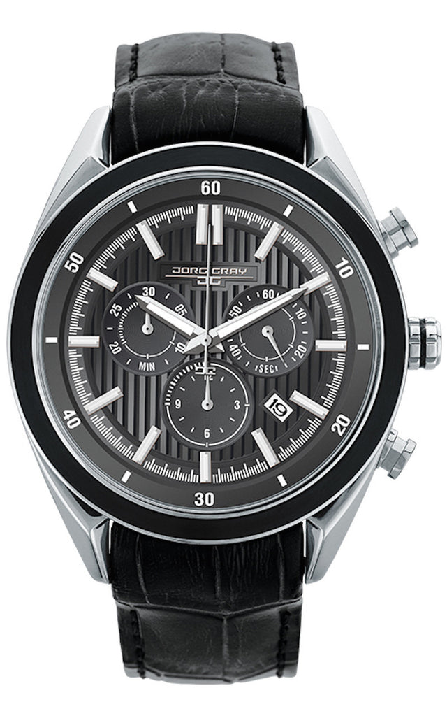 Jorg Gray JG6900-23 Men's Watch Chronograph Gray Dial With Integrated Black Genuine Leather Strap