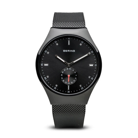 BERING 70142-222 Men's Black Smart Traveler Bluetooth Watch Milanese Strap