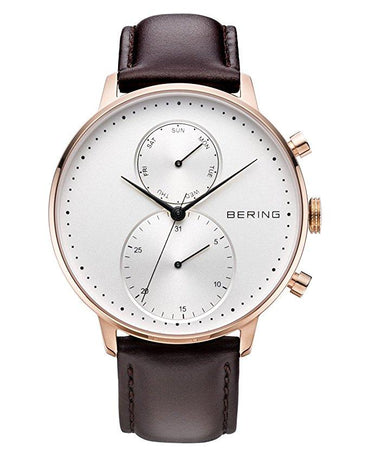 BERING 13242-564 Classic Day/Date 42mm Men's Watch IP Rose Gold Case Brown Leather Strap