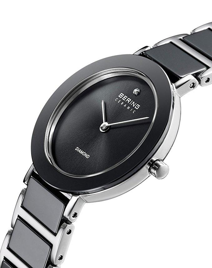 BERING 11429-Charity2 Women's Watch Grey Mother of Pearl Dial Gray/Silver Ceramic & Stainless Steel Band