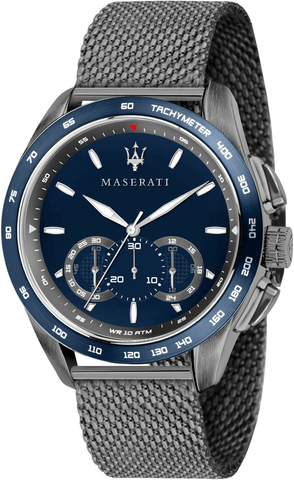 Maserati Traguardo Gunmetal Stainless Steel Mesh Chrono Men's Watch R8873612009