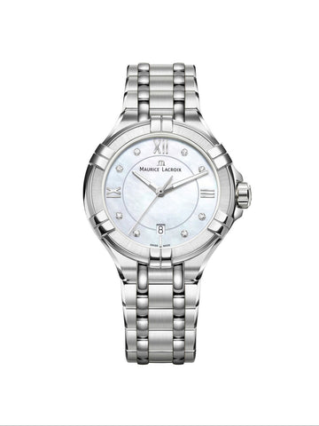 Maurice Lacroix AIKON Date 30mm Mother of Pearl Diamonds Women's Watch AI1004-SS002-170-1