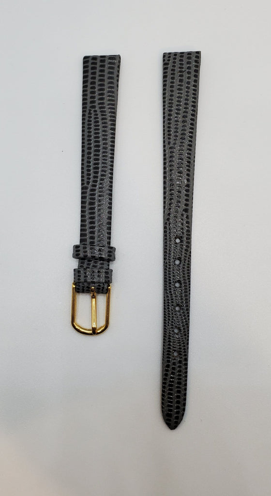 Champion Grey-Black 10mm Lizard Calf Watch Strap