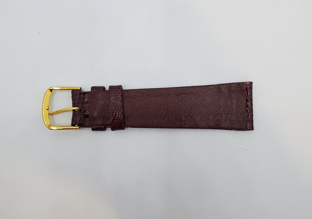 Bordeaux 18mm Lizard Print Leather Watch Strap