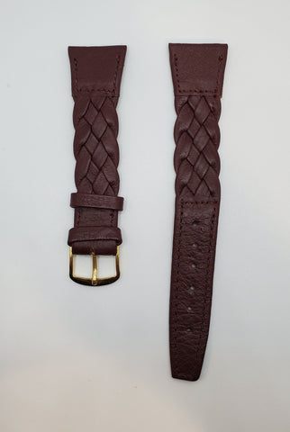 Bordeaux 19mm Woven Leather Watch Strap