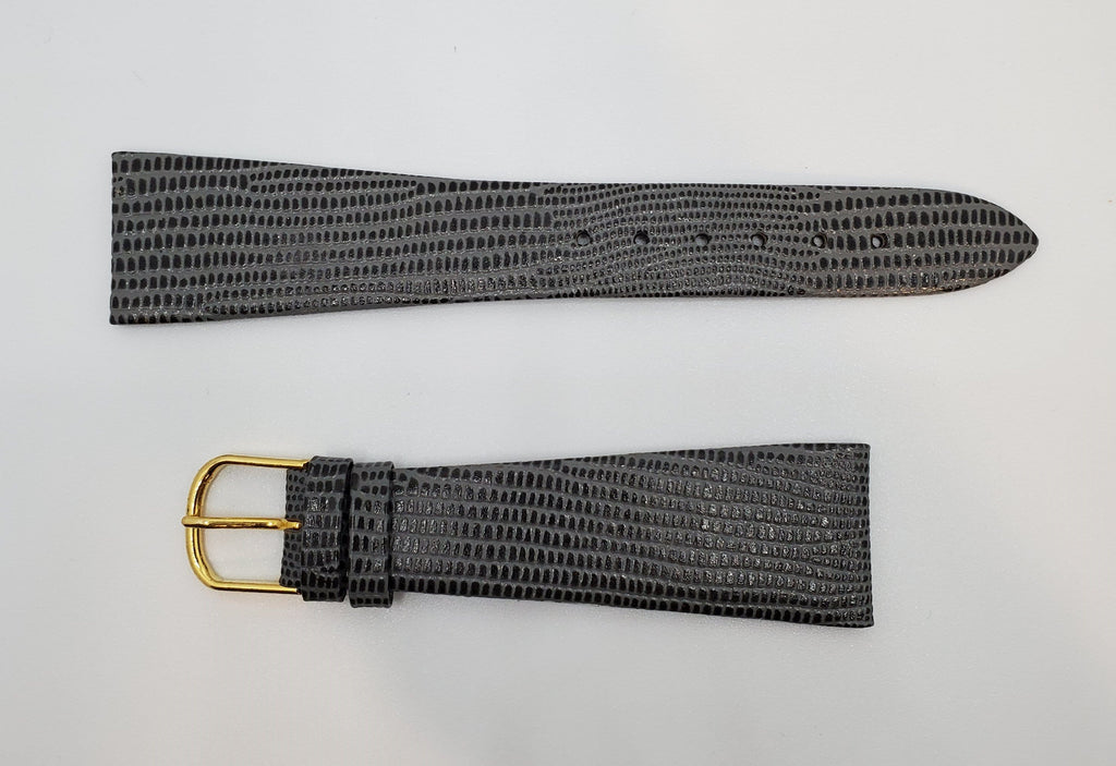 JB Champion 22mm Grey-Black Lizard Calf Watch Strap