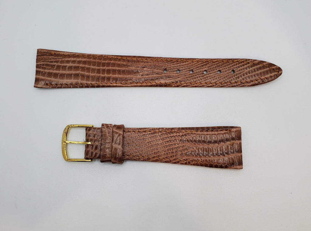 Brown 19mm Tapered Leather Watch Strap