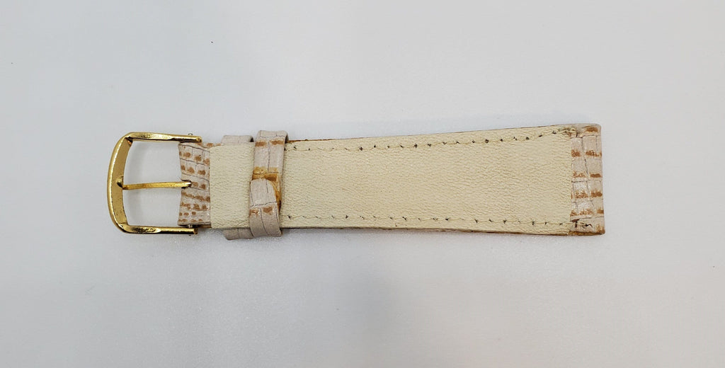 Beige 19mm Leather Tapered Watch Strap