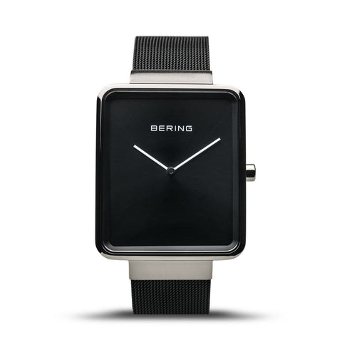 BERING Classic Rectangular Black Mesh Strap Men's Watch 14533-102
