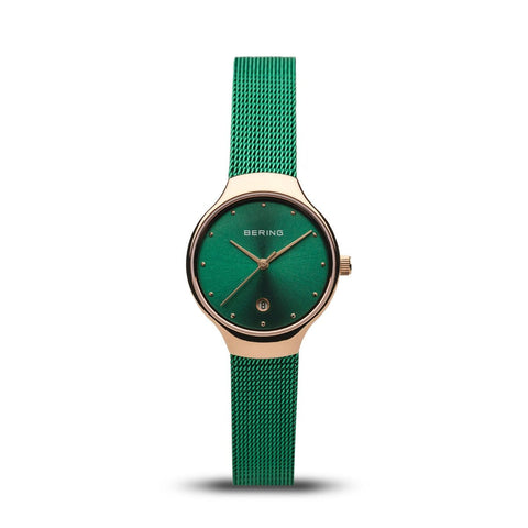 BERING Classic 26mm Polished Rose Gold Green Milanese Strap Women's Watch 13326-868