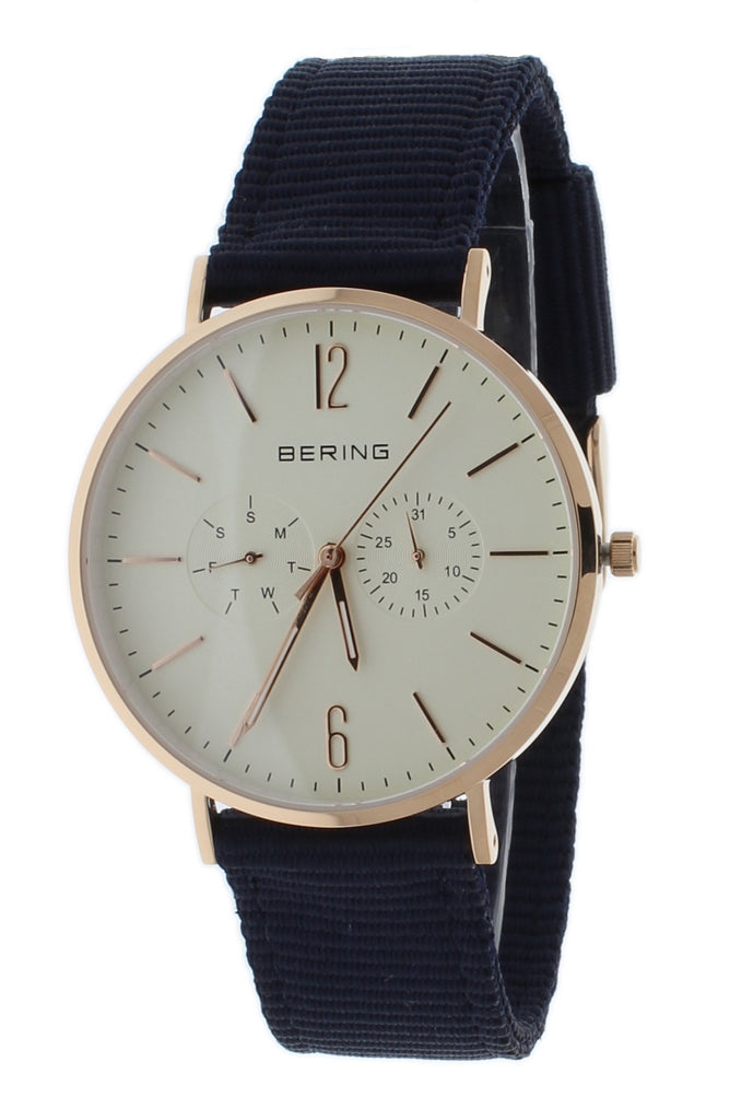 BERING 14240-564 Classic Unisex Watch Rose Gold Slim Case Day/Date Subdials With Extra Leather Strap