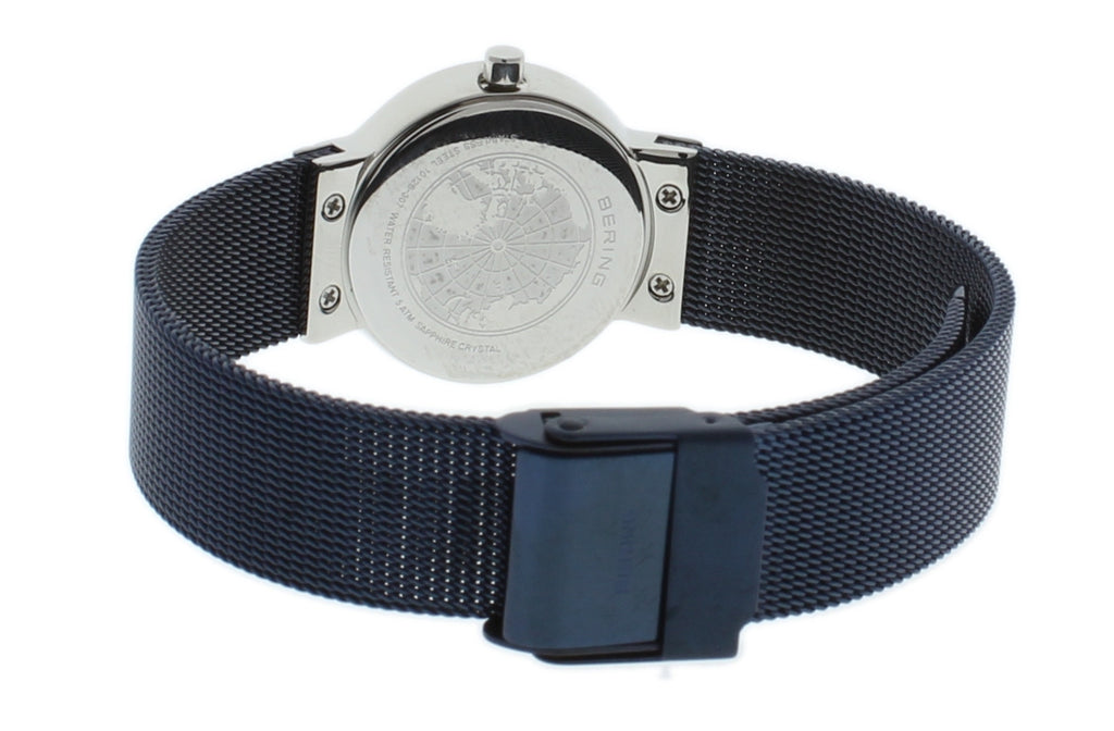 BERING Classic Slim Blue Dial Blue Mesh Band Women's Watch 10126-307