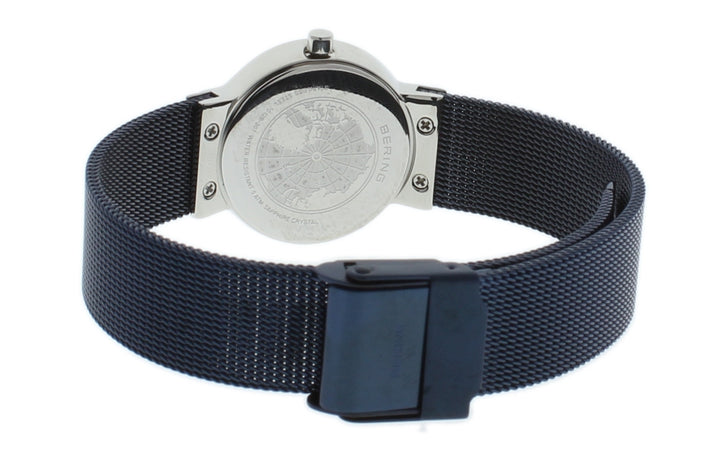 BERING 10126-307 Women's Watch Slim Silver Case Blue Mother of Pearl Dial Blue Mesh Band