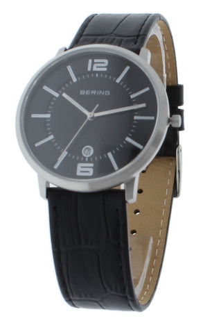 BERING 11139-409 Classic Black Unisex Watch Luminous Hands Black Leather Strap