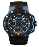 DeNovo DN2020-22NOM Men's Watch Swiss Made Orange Accent Chrono Brown Italian Leather Strap