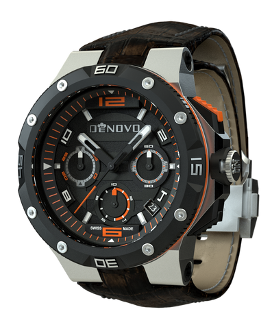 DeNovo Quantum Chronograph Swiss Luxury Orange Accents Brown Leather Band Men's Watch DN2020-22NOM