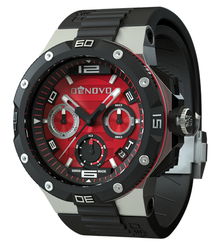DeNovo DN2020-24RNN Men's Red Dial Swiss Made Chronograph Watch Black Strap Italian Design